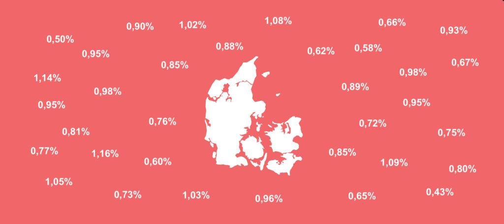 Danmarkskort med forskellige kirkeskat procentsatser